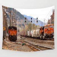 train Wall Tapestries featuring TRAIN YARD by Teresa Chipperfield Studios