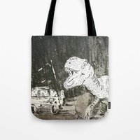 jurassic park Tote Bags featuring Jurassic by Erika Marie Burke
