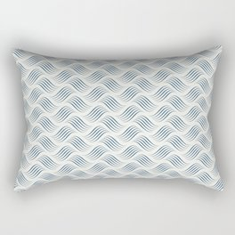 Dark Blue Wavy Tessellation Line Pattern on Off White - 2020 Color of the Year Chinese Porcelain Rectangular Pillow