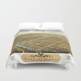 Bird's Eye View of Fort Atkinson, Wisconsin (1870) Duvet Cover