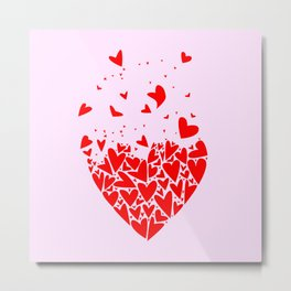 Flyaway Love Hearts Metal Print