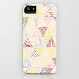 Hand Drawn Geometric Triangle Pattern Design - Burgundy and Yellow iPhone Case