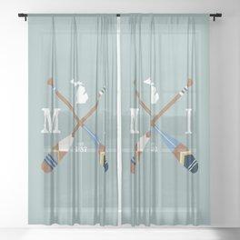 Paddle MI, Michigan Lake Life Painted Oars Sheer Curtain