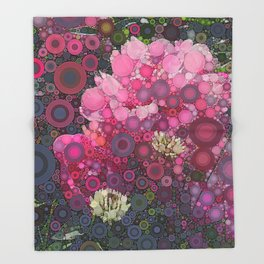 Pink Flowers at Twilight Abstract Throw Blanket
