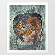 Woodland Squirrel Art Print