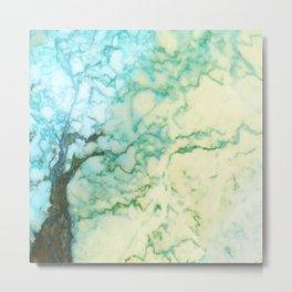 Abstract modern teal brown marble tree pattern Metal Print