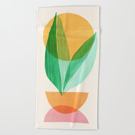 Summer Stack / Abstract Plant Illustration Beach Towel