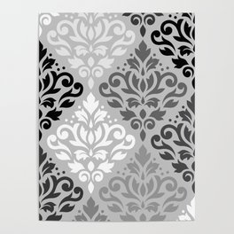 Scroll Damask Ptn Art BW & Grays Poster