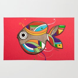 Fish which fulfills three wishes Rug