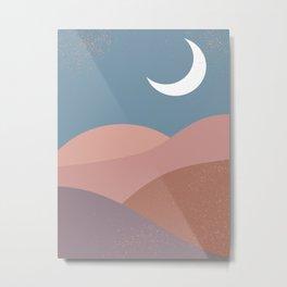 Mid Century Magic  Modern Minimalist Blue Pastel Pink Red Hue Moon Landscape Sun, Mountain River Metal Print