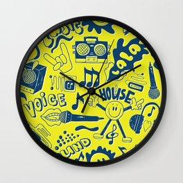Seamless pattern musical doodles pop art Wall Clock