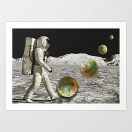 Moon Shot #collage Art Print