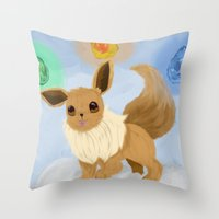 eevee Throw Pillows featuring Eevee in the Clouds by Jessika