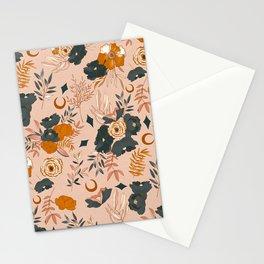 Orange and Navy Floral Botanical Stationery Cards