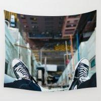 hong kong Wall Tapestries featuring Rooftop Hong Kong by Lucas Hayas