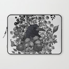 Raven in the Garden of Departed Botanicals Laptop Sleeve