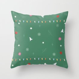 Christmas Ball Ornaments with snowflakes Throw Pillow