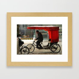 Red rickshaw Framed Art Print