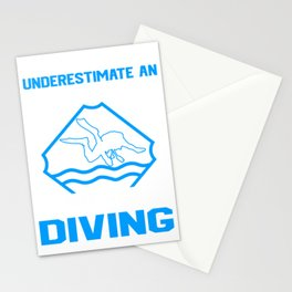 Never Underestimate An Old Man Who Loves Scuba Diving Stationery Cards