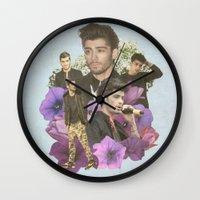 zayn malik Wall Clocks featuring Zayn Malik + Flowers 2 by Ladsandstuff