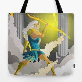 zeus jupiter god throwing a ray Tote Bag