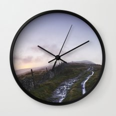 Mountain path and fence at sunset. Derbyshire, UK. Wall Clock