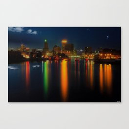 Providence Summer Nights City Skyline Landscape by Jeanpaul Ferro and Mike Dooley Canvas Print