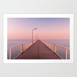 The Pontoon Bridge Mamaia, Black Sea. Dock on the Beach. Seafront Art Print