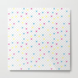 Pin Point Hearts CMYK Metal Print