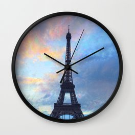 Paris Eiffel tower, French, romantic, couples, travel, landmark Wall Clock