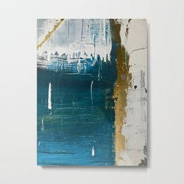 Rain [3]: a minimal, abstract mixed-media piece in blues, white, and gold by Alyssa Hamilton Art Metal Print