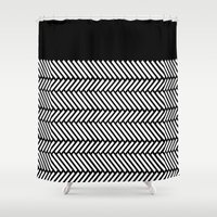 herringbone Shower Curtains featuring Herringbone Boarder by Project M