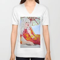tequila V-neck T-shirts featuring Tequila Sunrise by Geraldine Warrior