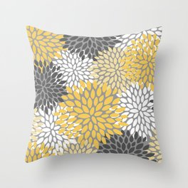Modern Elegant Chic Floral Pattern, Soft Yellow, Gray, White Throw Pillow