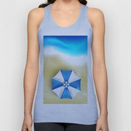 Couple of umbrellas on the beach, graphic art Unisex Tank Top