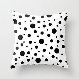 Black on White Polka Dot Pattern Throw Pillow