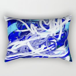 Blue & White Abstract Rectangular Pillow
