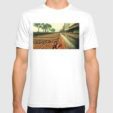 Train Track MEDIUM Mens Fitted Tee White