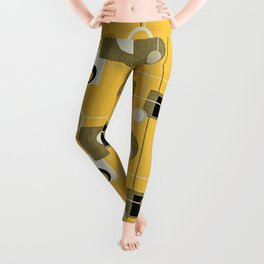 orbs and square gold yellow Leggings
