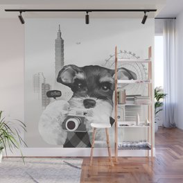 Schnauzer with Camera Wall Mural