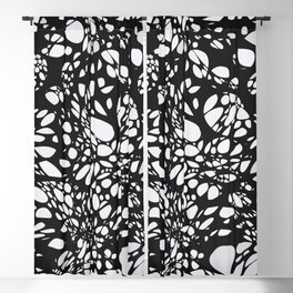 WEB black abstract lines on white background Blackout Curtain