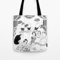 theatre Tote Bags featuring theatre by mariana, a miserável(the miserable one)