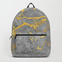 Grey Marble and Gold Backpack