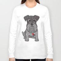 schnauzer Long Sleeve T-shirts featuring Spunky - Schnauzer by DiAnne Ferrer