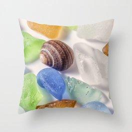 Tiny sea shell and Beach Glass Throw Pillow