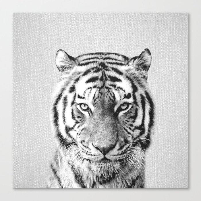 Tiger - Black & White Canvas Print