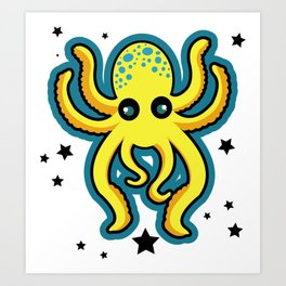 Yellow Octopus Art Print