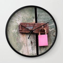 Pink Padlock Wall Clock