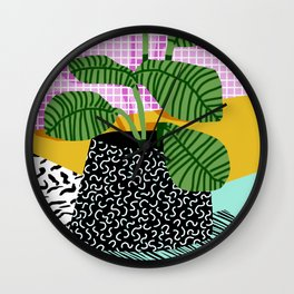 Decent - memphis retro neon throwback illustration pop art houseplant socal urban kids trendy art Wall Clock