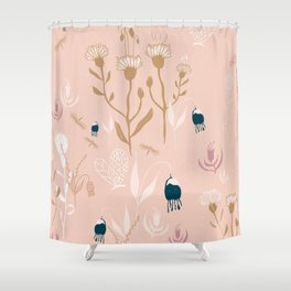 Magic Garden - Pink and Gold Shower Curtain